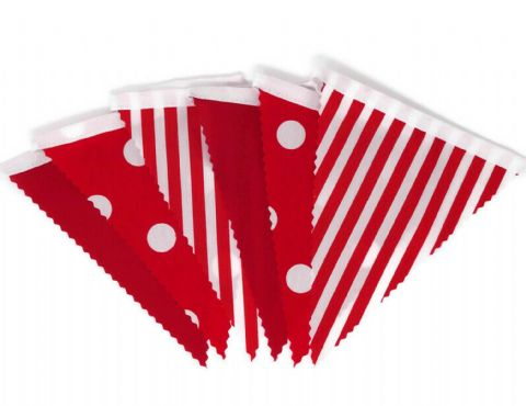 BUNTING Red - Plain, Spot and Stripe - 3m